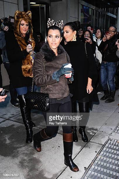 e72a19d22d Television personalities Kourtney Kardashian Khloe Kardashian and Kim  Kardashian leave their Downtown Manhattan hotel on November