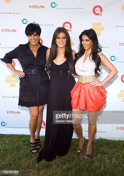 Television personalities Kris Jenner Khloe Kardashian and Kim Kardashian attend the 13th Annual Super Saturday event at Nova's Ark Project on July 31...