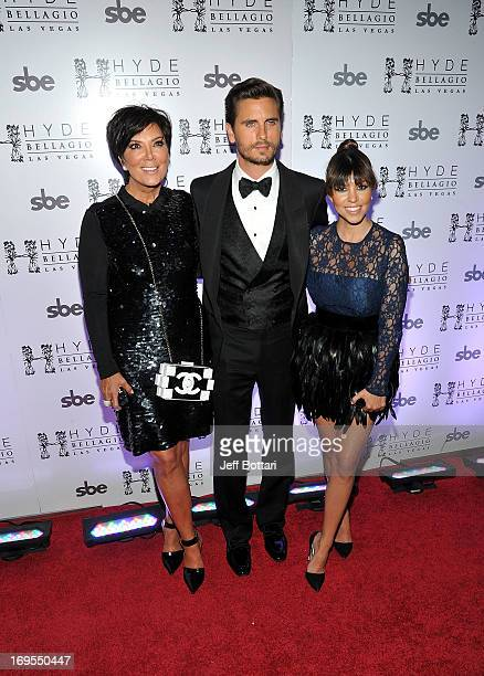 Television personalities Kris Jenner Scott Disick and Kourtney Kardashian arrive to celebrate Scott's 30th birthday at Hyde Bellagio at the Bellagio...