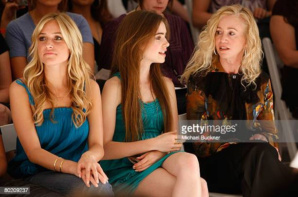 Television personalities Kristin Cavallari Lily Collins and guest pose in the front row at the Lauren Conrad Collection Fall 2008 fashion show during...