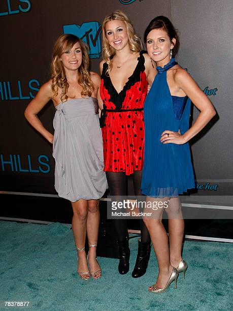 Television personalities Lauren Conrad Whitney Port and Audrina Patridge arrive at The Hills Season Three Finale Party at Area December 10 2007 in...