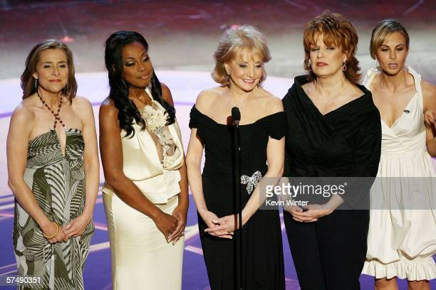 Television personalities Meredith Vieira Star Jones Barbara Walters Joy Behar and Elisabeth Hasselbeck of The View speak onstage during the 33rd...