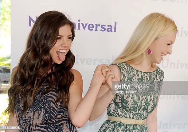 Television personalities Morgan Eastwood and Francesca Eastwood arrive at the 2012 NBC Universal Summer Press Day at The Langham Huntington Hotel and...