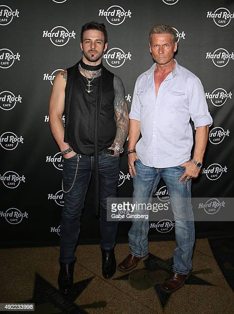 Television personalities Nick Hawk and Brace Land attend Hard Rock Cafe Las Vegas at Hard Rock Hotel's 25th anniversary celebration on October 10...