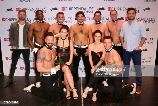 Television personalities Nick Viall Ashley Iaconetti Jared Haibon Jade Roper and Tanner Tolbert pose with Chippendale dancers before Haibon's...
