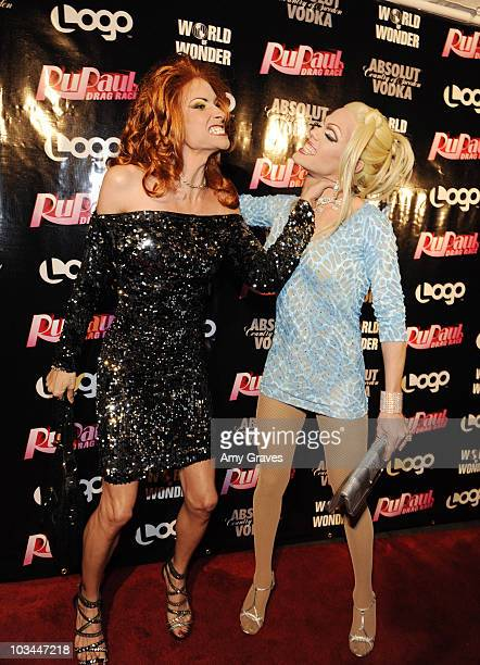 Television personalities Nicole Paige Brooks and Morgan McMichaels attends the ABSOLUT RuPaul Drag Race Season 2 Premiere Event at Eleven NightClub...