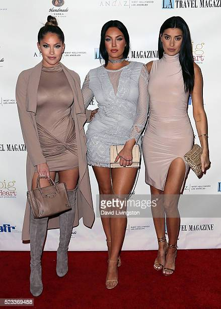 Television personalities Olivia Pierson Natalie Halcro and Nicole Williams attend Los Angeles Travel Magazine's release of its 2016 spring issue at...