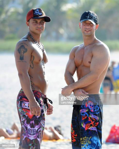 Television personalities Paul 'Pauly D' DelVecchio and Mike 'The Situation' Sorrentino are seen on May 9 2010 in Miami Beach Florida
