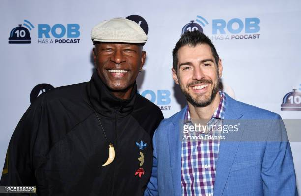 Television personalities Phillip Sheppard and Rob Cesternino attend the Rob Has A Podcast's Viewing Party of CBS' Survivor 40 Winners At War at...