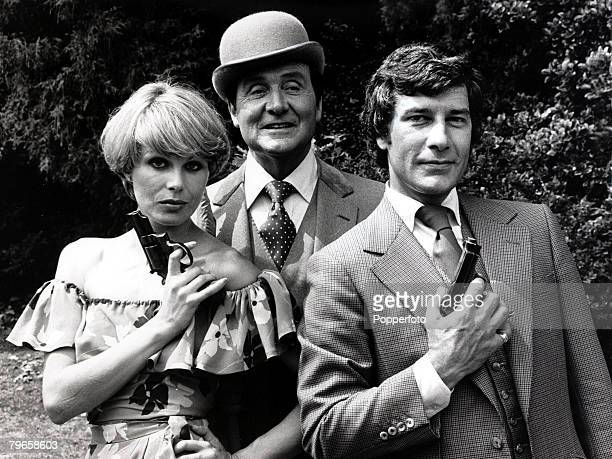 """Television Personalities, pic: 12th July 1976, The stars of the hit T,V, series """"The Avengers"""" l-r, Joanne Lumley, Patrick Macnee and Gareth Hunt..."""
