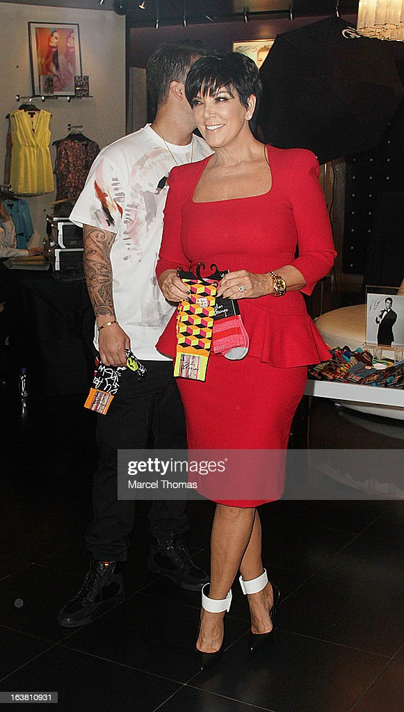 Television personalities Rob Kardashian and mom Kris Jenner make an appearance at the Kardashian Khaos store at The Mirage on March 16, 2013 in Las Vegas, Nevada.