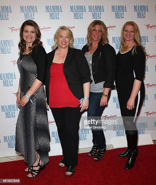 Television personalities Robyn Brown Janelle Brown Meri Brown and Christine Brown from 'Sister Wives' arrive at the grand opening of the show 'Mamma...