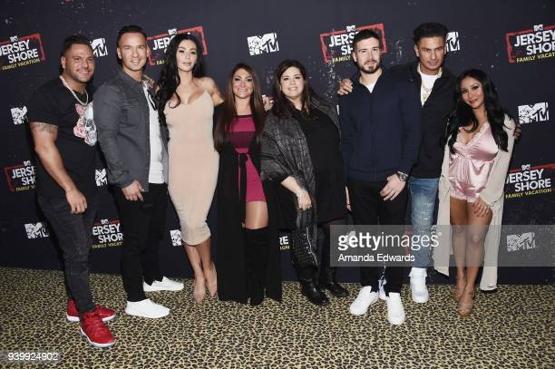 Television personalities Ronnie OrtizMagro Mike Sorrentino Jenni Farley and Deena Cortese executive producer SallyAnn Salsano and television...