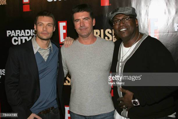 Television personalities Ryan Seacrest Simon Cowell and Randy Jackson attend the launch party for season three of The Girls Next Door at the Playboy...
