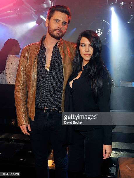 Television personalities Scott Disick and Kourtney Kardashian appear at 1 OAK Nightclub at The Mirage Hotel Casino on February 21 2015 in Las Vegas...