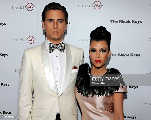 Television personalities Scott Disick and Kourtney Kardashian arrive at the launch of AG Adriano Goldschmied's 'backstAGe presents' initiative...