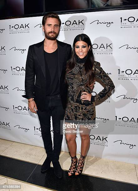 Television personalities Scott Disick and Kourtney Kardashian arrive at his birthday celebration at 1 OAK Nightclub at The Mirage Hotel Casino on May...