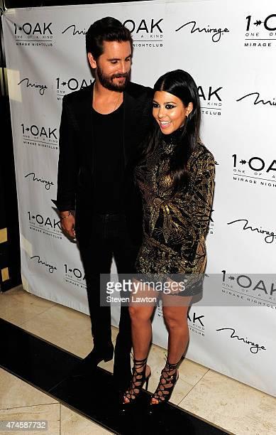 Television personalities Scott Disick and Kourtney Kardashian attend Scott's birthday celebration at 1 OAK Nightclub at The Mirage Hotel & Casino on...