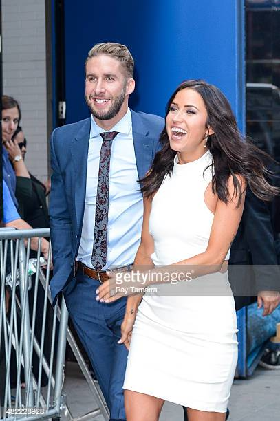 Television personalities Shawn Booth and Kaitlyn Bristowe leave the Good Morning America taping at the ABC Times Square Studios on July 28 2015 in...