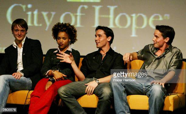 Television personalities Simon of The Real World Sophia of Road Rules and Larry and Gary of Fear Factor speak on stage at City of Hope's one of a...