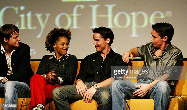 Television personalities Simon of The Real World Sophia of Road Rules and Gary and Larry of Fear Factor speak on stage at City of Hope's one of a...