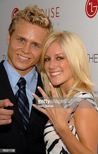 Television personalities Spencer Pratt and Heidi Montag arrive at 'The Hills' Season Three premeire at the LG House on August 8 2007 in Malibu...