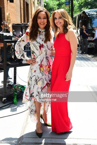 Television personalities Sunny Hostin and Jedediah Bila tape a segment at the 'View' at the ABC Lincoln Center Studios on June 15 2017 in New York...