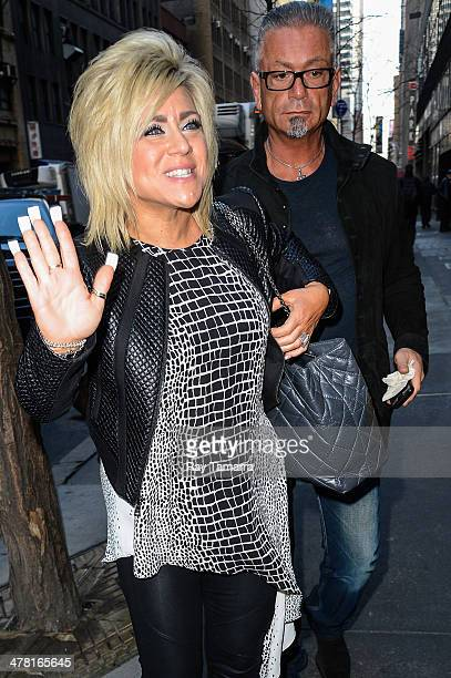 Television personalities Theresa Caputo and Larry Caputo enter the Today Show taping at the NBC Rockefeller Center Studios on March 11 2014 in New...