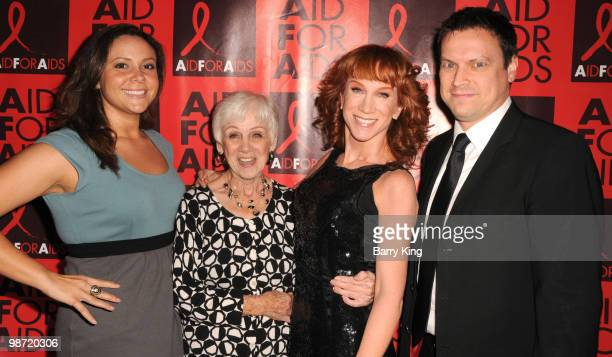 Television personalities Tiffany Rinehart Maggie Griffin Kathy Griffin and Tom Vize attend the Aid for AIDS 25th Silver Anniversary VIP Reception and...