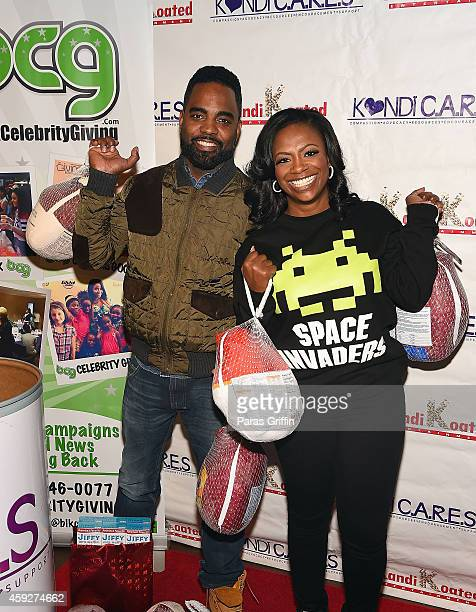 Television personalities Todd Tucker and Kandi Burruss attend Season of Blessing Collection Day at My Fair Sweets Bakery on November 19, 2014 in...