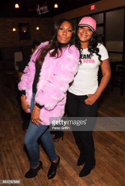 Television personalities Towanda Braxton and Trina Braxton attend Braxton Family Values Special Premiere Watch Party at Bar Chix on March 16 2017 in...