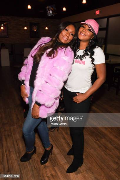 Television personalities Towanda Braxton and Trina Braxton attend 'Braxton Family Values' Special Premiere Watch Party at Bar Chix on March 16 2017...