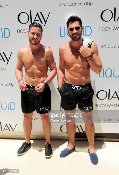 Television personalities Valentin Chmerkovskiy and Maksim Chmerkovskiy arrive at the Liquid Pool Lounge at the Aria Resort Casino at CityCenter on...