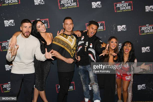 Television personalities Vinny Guadagnino Jenni 'JWoww' Farley Mike 'The Situation' Sorrentino Paul 'Pauly D' DelVecchio Deena Cortese and Nicole...