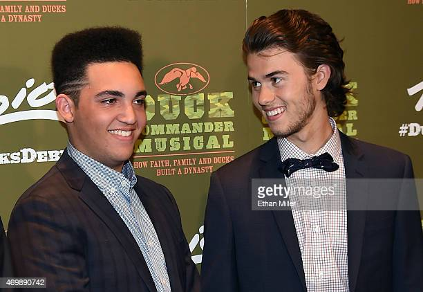 Television personalities Will Robertson and John Luke Robertson attend the Duck Commander Musical premiere at the Crown Theater at the Rio Hotel...