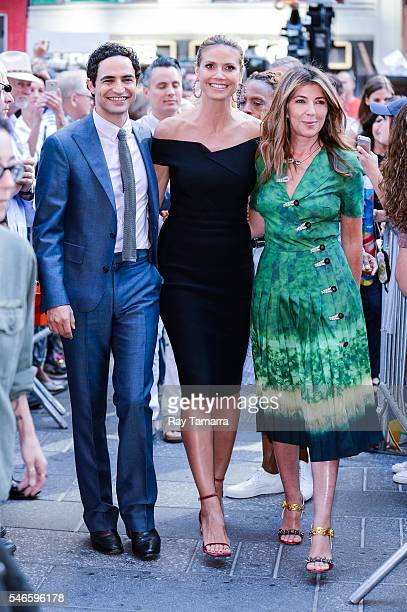 Television personalities Zac Posen Heidi Klum and Nina Garcia leave the 'Good Morning America' taping at the ABC Times Square Studios on July 12 2016...