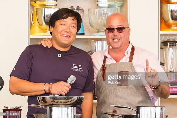 Television personalities/chefs Ming Tsai and Andrew Zimmern speak on stage during 'Eggs Eggs' at the third annual Austin FOOD WINE Festival at Butler...