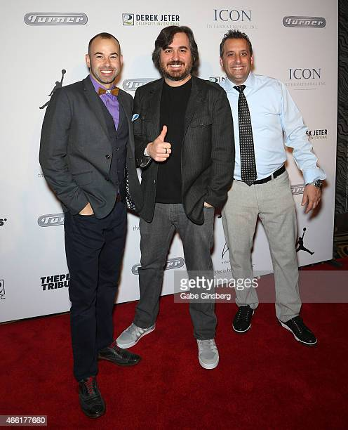 Television personalities/comedians James Murray Brian Quinn and Joseph Gatto arrive at the Derek Jeter Celebrity Invitational red carpet event at the...
