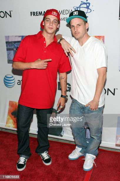 Television personalitites Ryan Sheckler and Rob Dyrdek arrive at the Los Angeles premiere party for The Phone at MyHouse on April 20 2009 in Los...