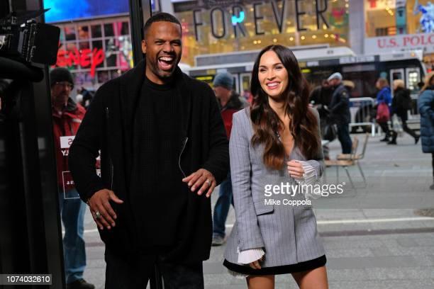 Television personality A J Calloway interviews Actress/model Megan Fox at2 'Extra' on November 28 2018 in New York City