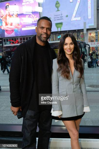 Television personality A J Calloway interviews Actress/model Megan Fox pose for a picture at 'Extra' on November 28 2018 in New York City