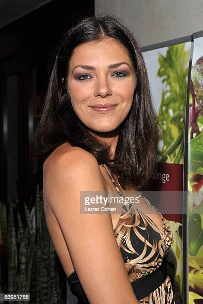 Television personality Adrianne Curry celebrates the Grand Opening of Sashi sushi sake lounge in Manhattan Beach CA on August 28 2008