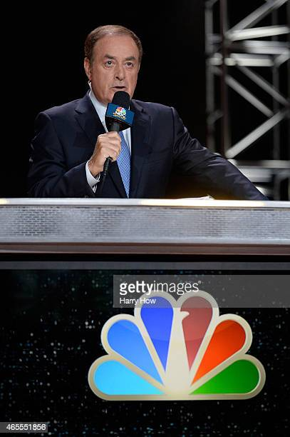 Television personality Al Michaels of NBC broadcasts prior to a Premier Boxing Champions bout in the MGM Grand Garden Arena on March 7 2015 in Las...