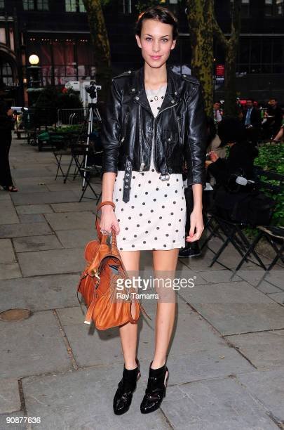 Television personality Alexa Chung walks through Bryant Park on September 16, 2009 in New York City.