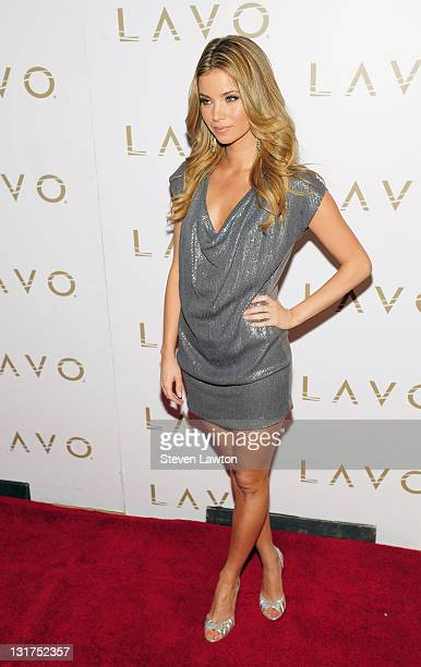 Television personality Amber Lancaster arrives to celebrate her role in a new MTV series 'The Hard Times of RJ Berger' at Lavo on June 11 2010 in Las...