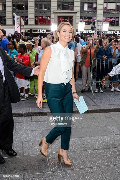 """Television personality Amy Robach leaves the """"Good Morning America"""" taping at the ABC Times Square Studios on September 2, 2015 in New York City."""