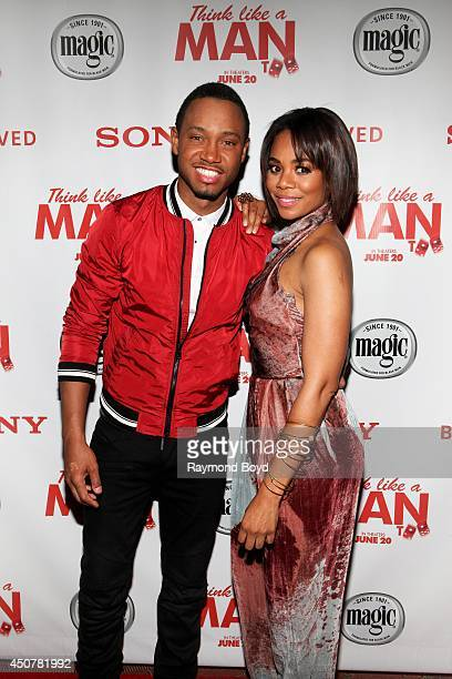 Television personality and actor Terrence J and actress Regina Hall poses for photos prior to the 'Think Like A Man Too' movie screening at the...