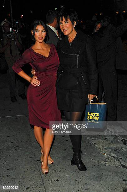 Television personality and actress Kim Kardashian and her mother Kris Jenner visit the 'Late Show David Letterman' taping at the Ed Sullivan Theatre...