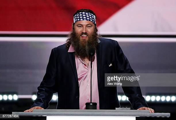 Television personality and CEO of Duck Commander Willie Robertson speaks on the first day of the Republican National Convention on July 18 2016 at...