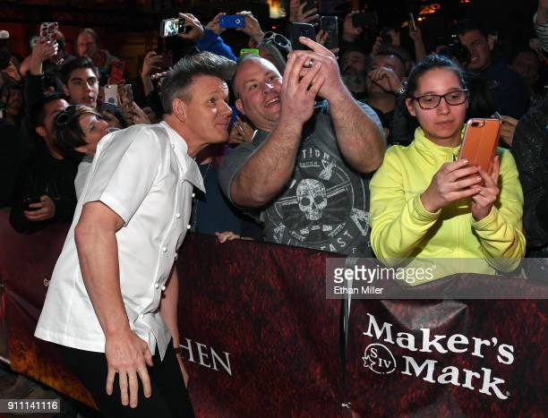 Television personality and chef Gordon Ramsay greets fans at the grand opening of the firstever Gordon Ramsay HELL'S KITCHEN restaurant at Caesars...
